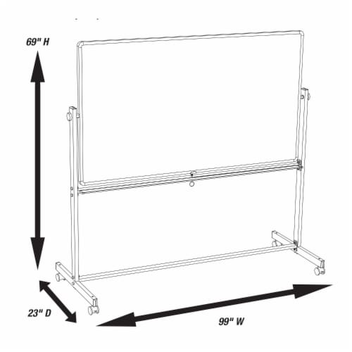 """Luxor 96""""Wx40""""H Double Sided Mobile Magnetic Whiteboard Perspective: top"""