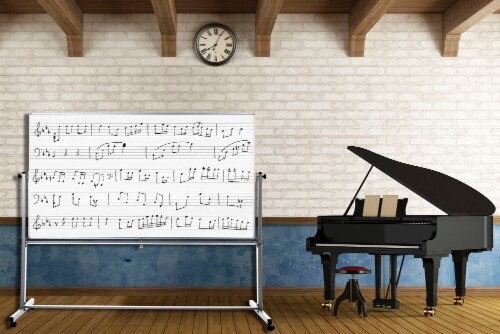 """Luxor 72""""W X 48""""H Mobile Double Sided Music Whiteboard Perspective: top"""