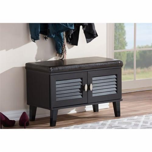 2-door Dark Brown Wood Entryway Storage Cushioned Bench Shoe Rack Cabinet Organizer Perspective: top