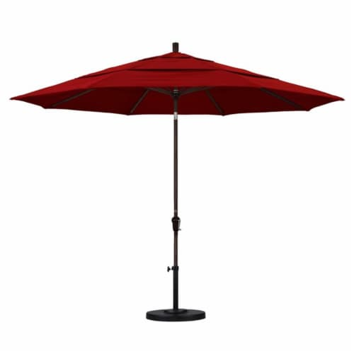 California Umbrella 11' Patio Umbrella in Red Perspective: top
