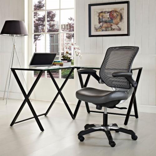 Gray Edge Vinyl Office Chair Perspective: top