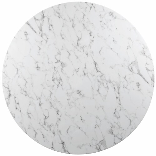 """Lippa 54"""" Round Artificial Marble Dining Table - White Perspective: top"""