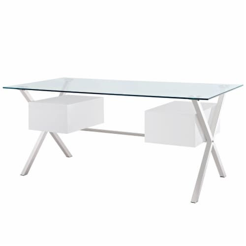 Abeyance Glass Top Office Desk - White Perspective: top