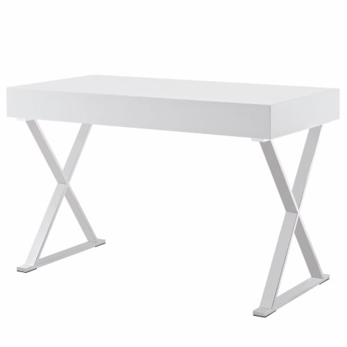 Sector Office Desk - White Perspective: top