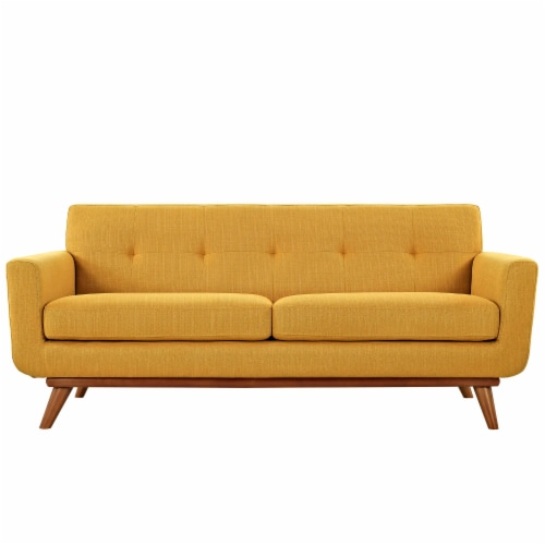 Engage Upholstered Fabric Loveseat - Citrus Perspective: top