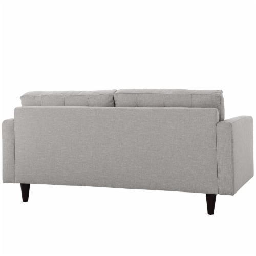 Empress Upholstered Fabric Loveseat - Light Gray Perspective: top