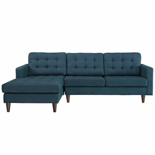 Empress Left-Facing Upholstered Fabric Sectional Sofa - Azure Perspective: top