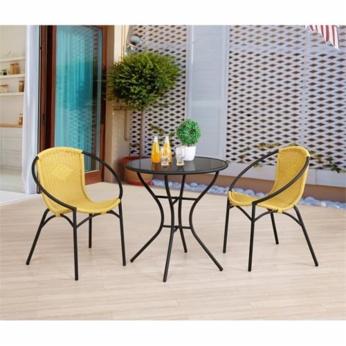 Parven All-Weather Aluminum Bistro Set with 2 Yellow Papasan Chairs and Table Perspective: top