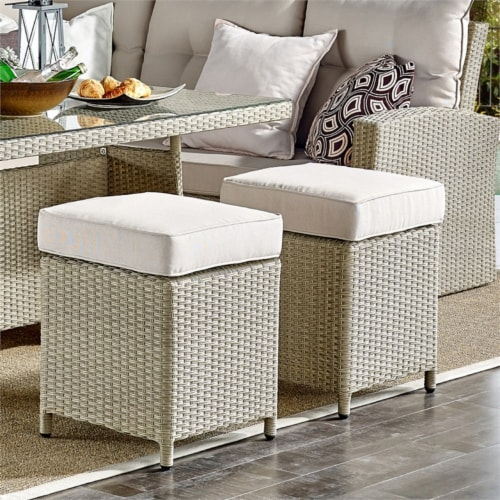 Canaan All-Weather Wicker Outdoor Set with Sofa Loveseat Table and 2 Stools Perspective: top