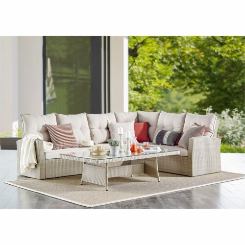"""Canaan Outdoor Wicker Corner Sectional Loveseat and Sofa with 57""""""""L Coffee Table Perspective: top"""