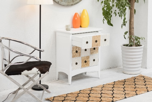 """Elegant Home Fashions Gozo 32"""" Accent Cabinet 2 Doors 1 Drawer White ELG-655 Perspective: top"""