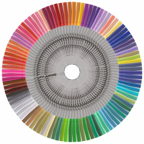 Set with 100 Unique Marker Colors - Universal Bullet Point Tips for Fine and Bullet Lines Perspective: top