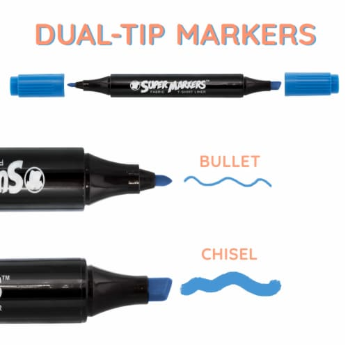 20 Pastel Colors Dual Tip Fabric & T-Shirt Marker Set - Chisel Point and Fine Point Tips Perspective: top