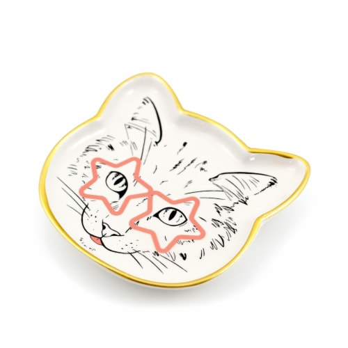 Cat Dish Plate | Small Ceramic Catchall Dish For Treats, Keys, Change, & More Perspective: top