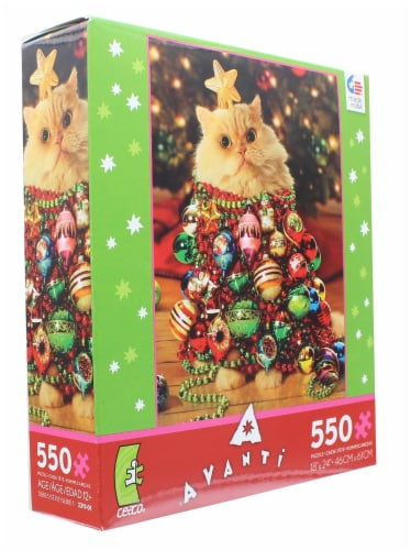 Ornament Kitty 550 Piece Christmas Jigsaw Puzzle Perspective: top