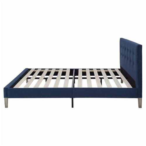 Classic Brands Seattle Tufted Platform Slat Bed Frame, Queen, Antonio Sapphire Perspective: top