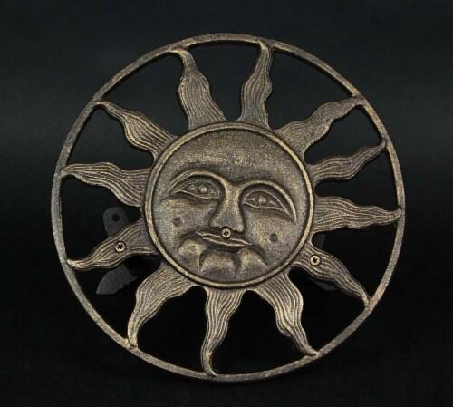 Cast Iron Sun Face Decorative Wall Mounted Hanging Garden Hose Holder Bronze - Sun Face Perspective: top