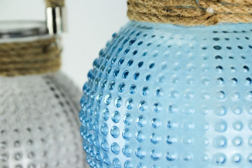 Set of 3 Hobnail Beaded Glass  Tealight Candle Lanterns with Rope Handles Perspective: top