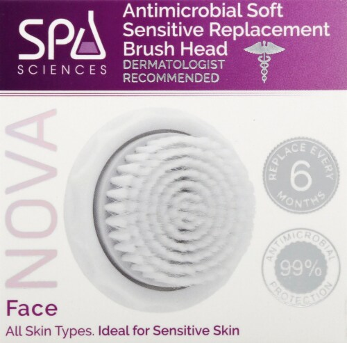 Spa Sciences Nova Antimicrobial Soft Sensitive Replacement Brush Head Perspective: top