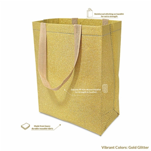 Large Gold Gift Bags with Handles, Reusable Tote, Glitter Metallic Bling Shimmer Perspective: top