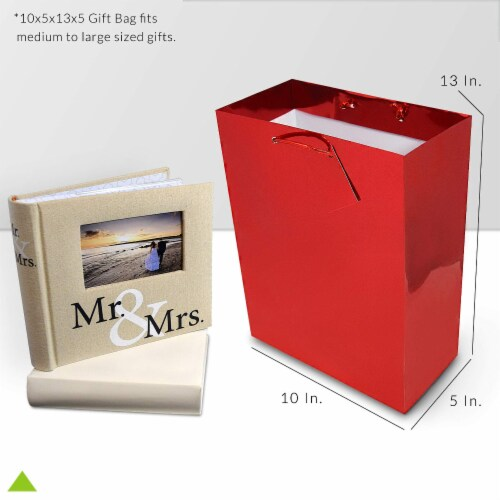 Red Foil Gift bags with Handles, Designer Solid Red Paper Gift Wrap Bags Perspective: top