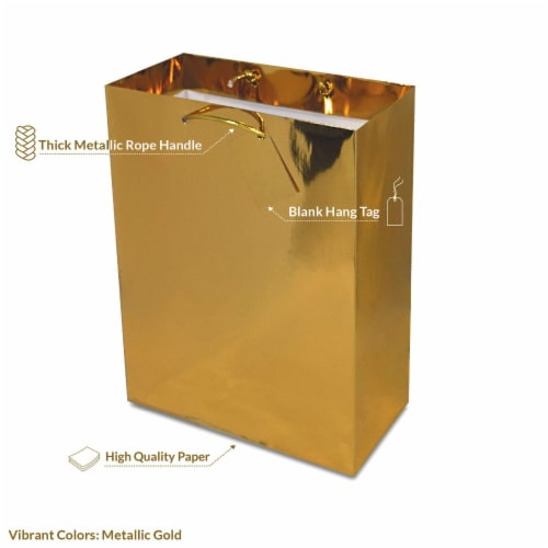 Gold Foil Gift bags with Handles, Designer Solid Gold Paper Gift Wrap Bag Perspective: top
