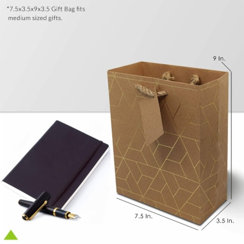 Designer Gift Bags with Handles, Gold Geometric Chevron, Stripe Prints with Jute Handles Perspective: top