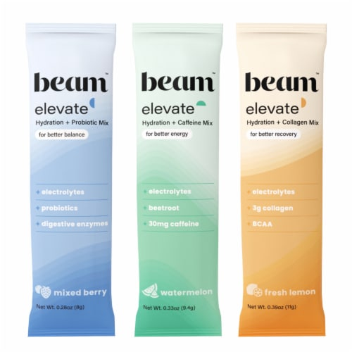 Beam Organics, Elevate Hydration Variety Pack, Balance + Recovery + Performance 15 Single Set Perspective: top