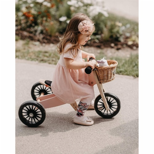 Kinderfeets Tiny Tot PLUS Toddler 2-in-1 Balance Bike and Tricycle, Rose Perspective: top
