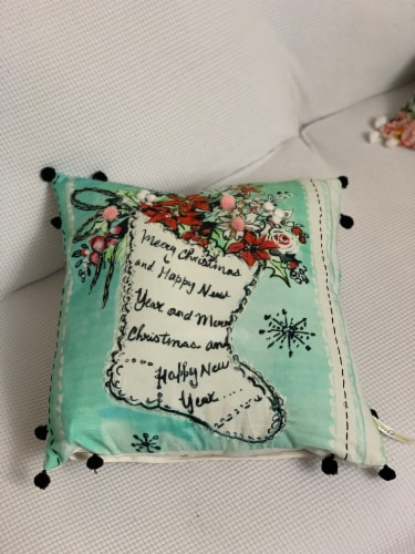 Chicos Home Stocking Christmas Pillow Cover Perspective: top