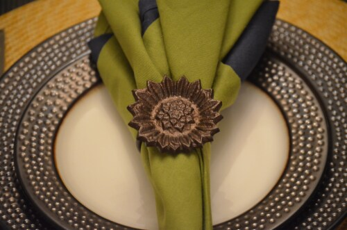 Vibhsa Sun Flower Napkin Ring 4 Pack - Copper Perspective: top
