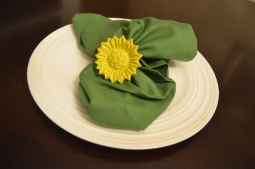Vibhsa Sunflower Napkin Rings 4 Pack - Yellow Perspective: top