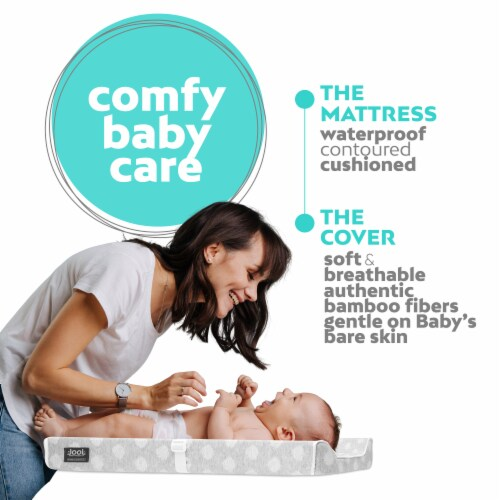 Jool Baby Contoured Changing Pad - Includes a Cozy & Washable Bamboo Fiber Mattress Cover Perspective: top