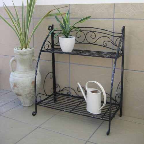 Folding Plant Stand 2 Shelf Perspective: top