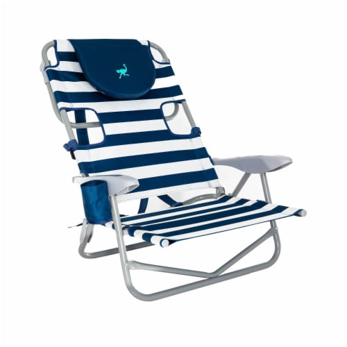 Ostrich On-Your-Back Outdoor Lounge 5 Position Recline Beach Chair, Striped Blue Perspective: top