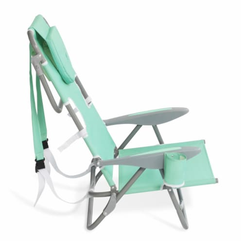 Ostrich On Your Back Folding Reclining Outdoor Beach Camping Lawn Chair, Teal Perspective: top