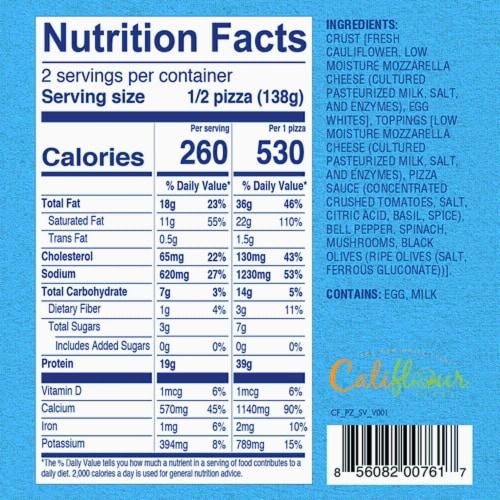 Cali'flour Foods Supreme Veggie Pizza Perspective: top