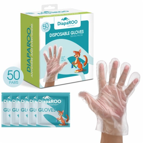 DiapaROO Disposable PE Plastic Gloves for Travel - Food Grade- 100 Count/50 Pairs Perspective: top