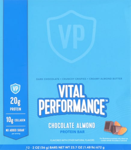 Vital Performance Chocolate Almond Protein Bars Perspective: top