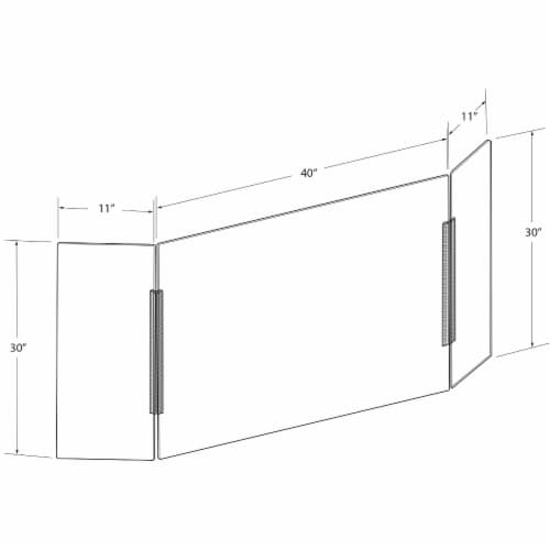 Azar Displays Clear Acrylic Trifold Sneeze Guard Protective Barrier Perspective: top
