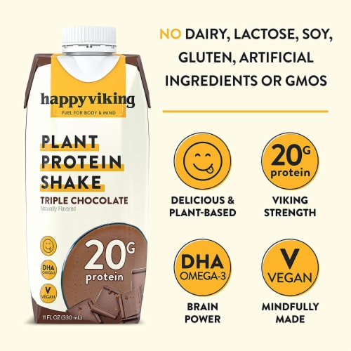 Happy Viking Triple Chocolate Plant Protein Shake Perspective: top