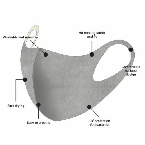 ATB Gray Summer Fabric UV Antibacterial Masks Perspective: top