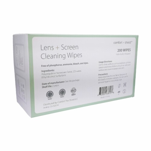 Lens and Electronic Cleaning Wipes, Comfort Plus Shield, 200 ct Perspective: top