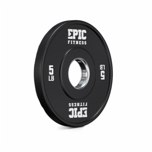 Epic Fitness Urethane Competition Barbell Plate for Training, 5 Pound Set, Black Perspective: top