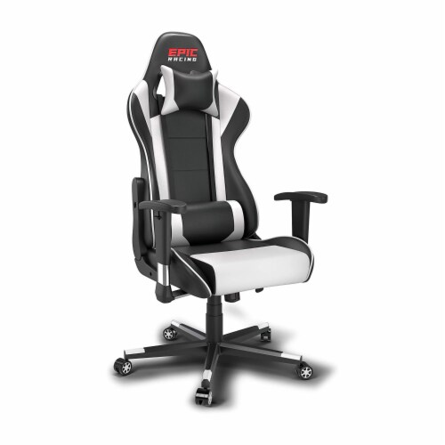 Epic Racing Gaming Chair for Teens & Adults, Back Lumbar Support, White/Black Perspective: top