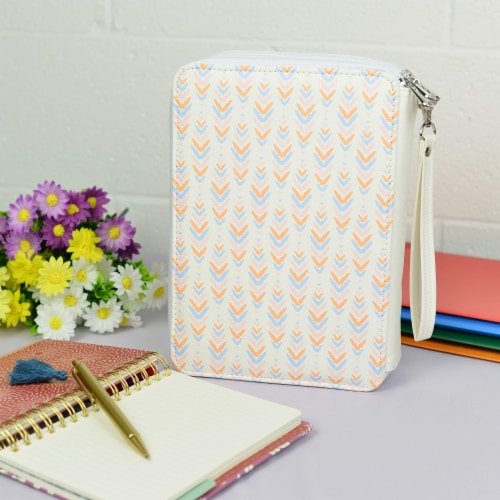 Colored Pencil Holder  with Zippered Storage Compartments and Wristlet Handle Perspective: top