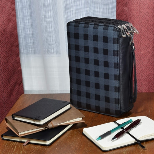 Colored Pencil Holder, Large Capacity Pencil Case w/ Zippered Compartments & Wristlet Handle Perspective: top