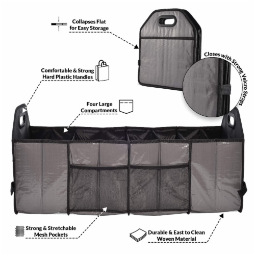 Foldable Trunk Organizer Functional Cargo Storage Divider Bag, 4 Compartments Portable Bag Perspective: top