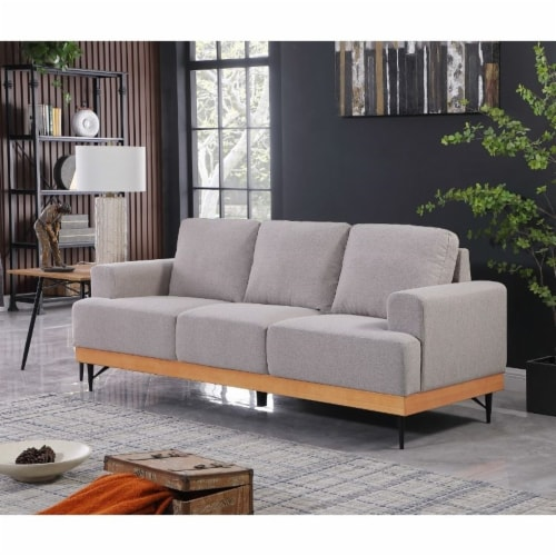 Devion Furniture Modern Fabric Loveseat in Light Gray Perspective: top