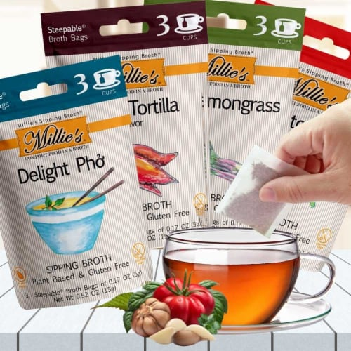 Millie's Sipping Broth 4 Flavor Assortment - 12 Count Perspective: top